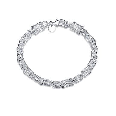 levne Pánské šperky-Pánské Řetězové & Ploché Náramky Silný řetězec Duté Had Jednoduchý Základní Měď Náramek šperky Stříbrná Pro Denní Práce / Postříbřené