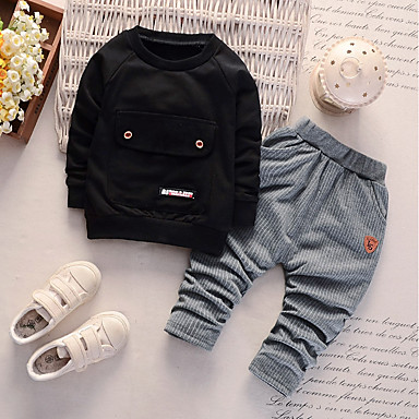 cheap Baby & Toddler Boy-Baby Boys' Basic Daily Print Long Sleeve Regular Regular Clothing Set Black / Toddler