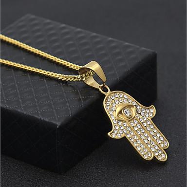 povoljno Modne ogrlice-Muškarci Kubični Zirconia Ogrlice s privjeskom Lančići Kubanska veza Zlo oko Statement pomodan Hip-hop Umjetno drago kamenje nehrđajući Zlato 60 cm Ogrlice Jewelry 1pc Za Zabava / večer Ulica