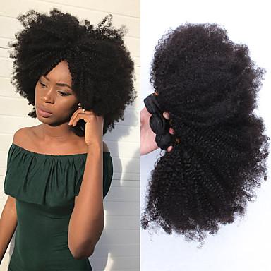 povoljno Ekstenzije za kosu-3 paketa Mongolska kosa Afro Kinky Ljudska kosa Jedan Pack Solution tkati 10-26 inch Isprepliće ljudske kose Proširenja ljudske kose / 8A