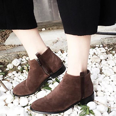 66429a66b668 Women s Suede Fall   Winter Bootie Boots Low Heel Round Toe Booties   Ankle  Boots Black   Dark Brown 6785684 2019 –  34.99