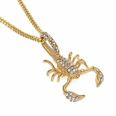povoljno Modne ogrlice-Muškarci Kubični Zirconia Ogrlice s privjeskom Lančići Kubanska veza Škorpion Statement Europska Hip-hop Hip Hop Umjetno drago kamenje nehrđajući Zlato 60 cm Ogrlice Jewelry 1pc Za Ulica Jabuka