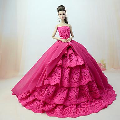 levne Doplňky pro panenky-Šaty pro panenky Šaty Pro Barbie Vlnky Vícebarevný Krajka Fuchsiová Polybavlna Krajka Šaty Pro Dívka je Doll Toy
