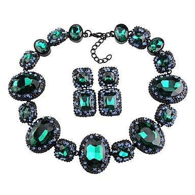levne Dámské šperky-Dámské Křišťál High End Crystal Peckové náušnice Obojkové náhrdelníky Prohlášení Náhrdelníky Silný řetězec Duté Kytky Blahoslavený Prohlášení dámy Luxus Geometrik Elegantní Náušnice Šperky Červen