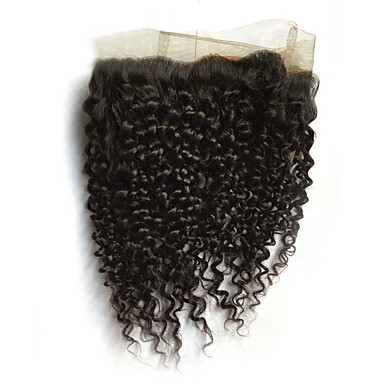 cheap Closure & Frontal-CLAROLAIR All Curly 360 Frontal Indian Hair / Kinky Curly Swiss Lace Human Hair Adjustable / Hot Sale / Comfortable Christmas / Christmas Gifts / Wedding