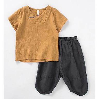 cheap Boys' Clothing Sets-Kids Boys' Basic Daily Solid Colored Short Sleeve Clothing Set White