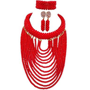 levne Dámské šperky-Dámské Strands Náhrdelník Vícevrstvé MOON dámy Módní Afričan Rakouský křišťál Náušnice Šperky Modrá / Žhavá růžová / Světle hnědá Pro Párty Denní