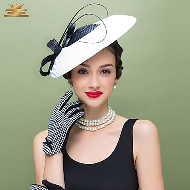 voordelige Hoeden-Veer / Polyesteri Kentucky Derby Hat / fascinators / Hoofddeksels met Bloemen 1pc Bruiloft / Speciale gelegenheden  / Causaal Helm