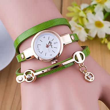 levne Dámské-Dámské dámy Náramkové hodinky hodinky zábalu Křemenný Wrap Kůže Černá / Bílá / Modrá Hodinky na běžné nošení Analogové Módní - Zelená Modrá Tmavě zelená