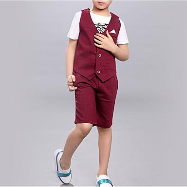 preiswerte Kleidersets für Jungen-Kinder Jungen Grundlegend Druck Ärmellos Baumwolle Kleidungs Set Grau