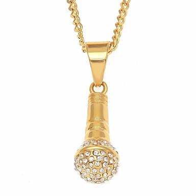 povoljno Modne ogrlice-Muškarci Kubični Zirconia Ogrlice s privjeskom Long Kreativan Radost pomodan Rock Hip-hop nehrđajući Zlato 60 cm Ogrlice Jewelry 1pc Za Ulica Praznik