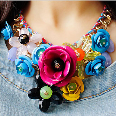 cheap Statement Necklaces-Women's Multicolor Statement Necklace Bib necklace Braided Bib Flower Rainbow Ladies Luxury Chunky Color Synthetic Gemstones Resin Plastic Rainbow White Black Red Fuchsia Necklace Jewelry 1pc For