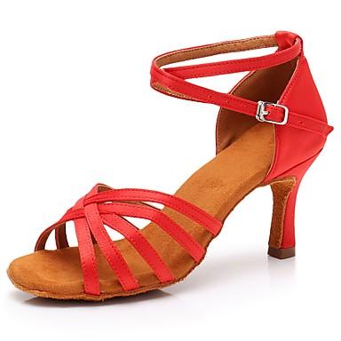 7be1a33dede8 Žene Cipele za latino plesove Saten Sandale   Štikle Kopča Tanka visoka  peta Moguće personalizirati Plesne cipele Crvena iz 6794396 2019 . –  18.99