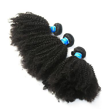 povoljno Ekstenzije za kosu-3 paketa Peruanska kosa Afro Kinky Virgin kosa Ljudske kose plete Afro Kinky Pletenice 8-26 inch Natural Isprepliće ljudske kose Najbolja kvaliteta 100% Djevica Proširenja ljudske kose / 10A
