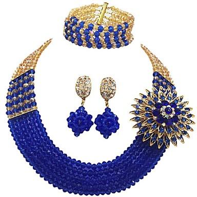 levne Dámské šperky-Dámské Strands Náhrdelník Vícevrstvé Řemeslník MOON dámy Módní Elegantní Rakouský křišťál Náušnice Šperky Červená / Zelená / Žhavá růžová Pro Svatební