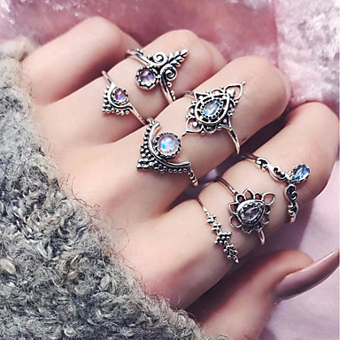 cheap Rings-Women's Ring Set Midi Rings Stackable Rings Synthetic Tourmaline 7pcs Silver Alloy Circle Ladies Basic Fashion Daily Date Jewelry Mismatched Snowflake