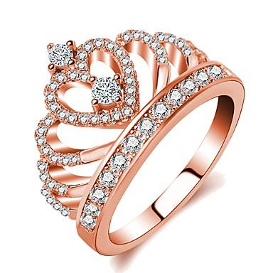billige Fuskediamant-Dame Ring Princess Crown Ring 1pc Rose Gull Messing Gullplatert rose Fuskediamant damer Klassisk Romantikk Bryllup Aftenselskap Smykker Elegant Krone Søtt