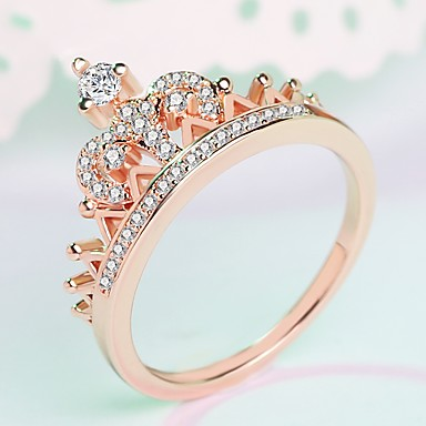 cheap Rings-Women's Ring Midi Ring Princess Crown Ring 1pc Silver Rose Gold Brass Platinum Plated Rose Gold Plated Ladies Trendy Fashion Wedding Masquerade Jewelry Stylish Crown Cute / Imitation Diamond