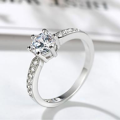 billige Motering-Dame Ring Belle Ring 1pc Sølv Messing Platin Belagt Fuskediamant Seks tenger damer Unikt design trendy Bryllup Formell Smykker Elegant Solitaire HALO Dyrebar Søtt