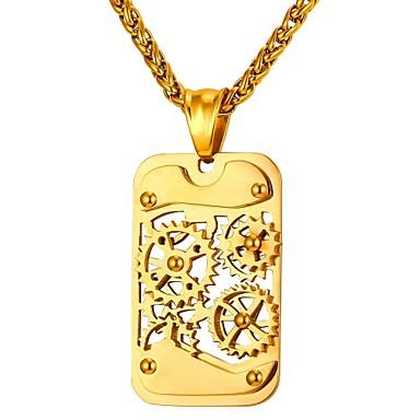 levne Dámské šperky-Pánské Náhrdelníky s přívěšky Retro kreativita stylové Steampunk Dubaj Hip Hop Nerez Zlatá Černá Stříbrná 55 cm Náhrdelníky Šperky 1ks Pro Dar Denní