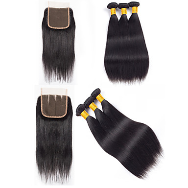 cheap 3 Bundles with Closure-3 Bundles with Closure Hair Weaves Peruvian Hair Straight Human Hair Extensions Remy Human Hair 100% Remy Hair Weave Bundles 345 g Natural Color Hair Weaves / Hair Bulk Human Hair Extensions 8-20 inch