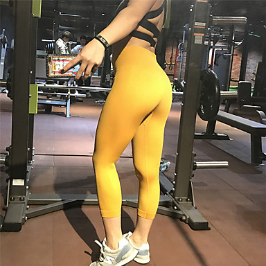 8a633783e55a8 Women's Yoga Pants Sports Solid Color Spandex High Rise 3/4 Tights Zumba  Dance Running Activewear Breathable Moisture Wicking Anatomic Design Push  Up High ...