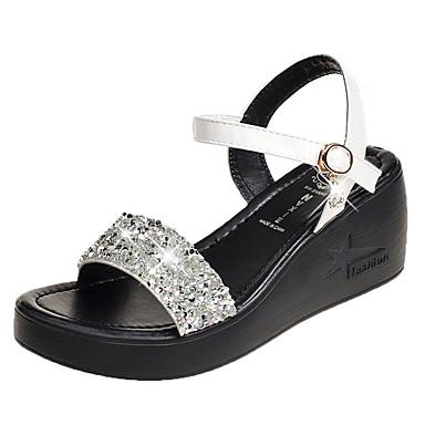 f12bb58b913f Women s PU(Polyurethane) Summer Ankle Strap Sandals Wedge Heel Open Toe  Rhinestone White   Black 6855816 2019 –  22.99