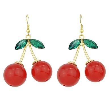 povoljno Modne naušnice-Žene Viseće naušnice Sa stilom Višnja Sretan dame Osnovni Moda Naušnice Jewelry Crvena Za Dnevno Spoj 1 par