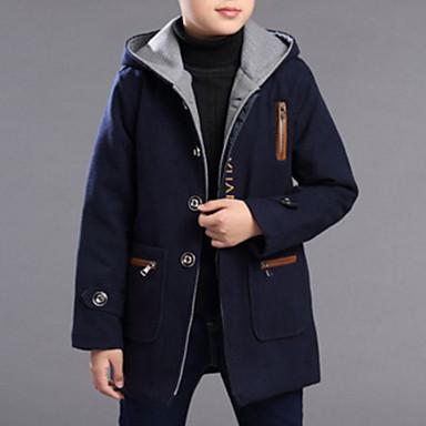 povoljno Odjeća za dječake-Djeca Dječaci Osnovni Jednobojni Žakard Dugih rukava Pamuk Baloner Navy Plava