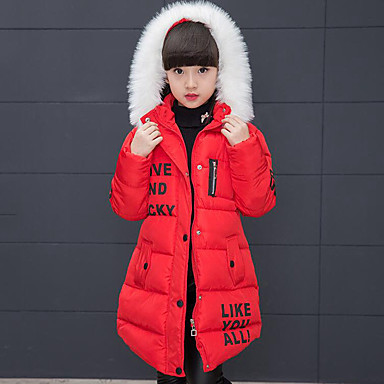 cheap Winter Outerwear-Kids Girls' Active Street chic Daily Going out Print Patchwork Patchwork Print Long Sleeve Long Down & Cotton Padded Black