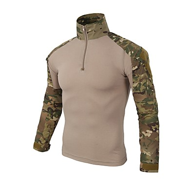 0a8c2985 Men's Camo Hiking Shirt / Button Down Shirts Long Sleeve Outdoor Quick Dry  Breathability Wearable Top Autumn / Fall Spring Cotton Camouflage Khaki  Dark Navy ...
