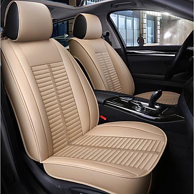 billige Interiørtilbehør til bilen-5 seter beige firesesonger bilstol full deksel for fem seter bil / pu skinnmateriale / kollisjonspute kompatibilitet / justerbar og avtakbar / familiebil / suv