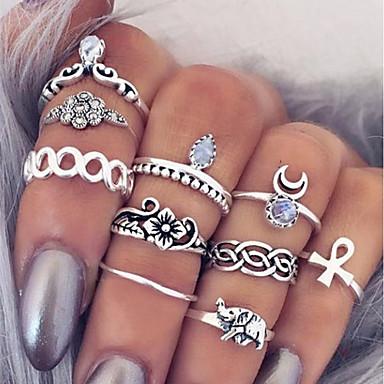 billige Motering-Dame Ring Set Midiringe Stable Ringer 10pcs Sølv Legering Sirkelformet damer Enkel Unikt design Daglig Stevnemøte Smykker Multi Layer Kors Blomst Søtt