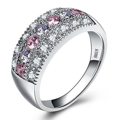 billige Motering-Dame Ring Belle Ring Micro Pave Ring Kubisk Zirkonium 1pc Sølv Platin Belagt S925 Sterling Sølv Hvitt gull damer Bohem Farge Bryllup Fest Smykker Elegant Pave