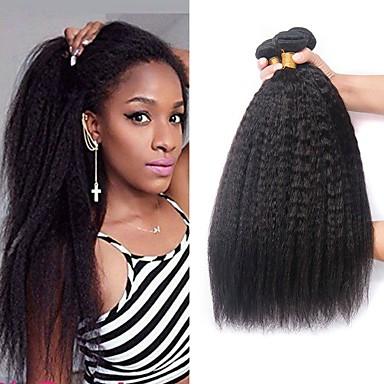 povoljno Ekstenzije za kosu-3 paketa Brazilska kosa Yaki Ljudska kosa Ljudske kose plete Bundle kose Jedan Pack Solution 8-28 inch Prirodna boja Isprepliće ljudske kose Klasični Najbolja kvaliteta Novi Dolazak Proširenja / 8A
