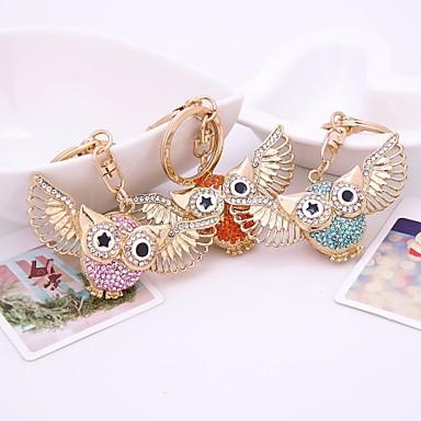 cheap Keychains-Keychain Owl Diamond / Rhinestone Decorated Case Fashion Imitation Diamond Ring Jewelry Orange / Blue / Pink For Gift Daily
