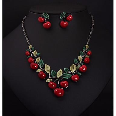 levne Dámské šperky-Dámské Náušnice - Kruhy Bib náhrdelník Stylové Řetěz oblouku Leaf Shape Třešňová dámy stylové Sladký Elegantní Náušnice Šperky Stříbrná Pro Narozeniny Dar