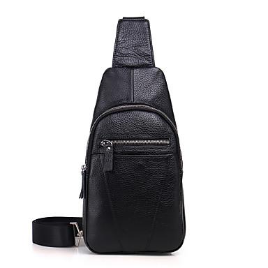 4ab33fb6973a Men s Bags Cowhide Sling Shoulder Bag Zipper Black   Coffee   Brown 6883005  2019 –  49.99