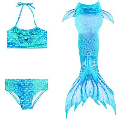 halpa Tyttöjen uima-asut-Lapset Tyttöjen Aktiivinen söpö tyyli Pieni merenneito Geometrinen Avoin selkä Uima-asu Uima-allas