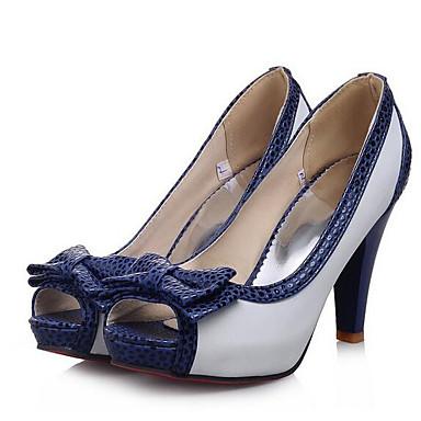 cheap Women's Heels-Women's Heels Plus Size Stiletto Heel Basic Pump Daily PU Summer White / Black / Blue