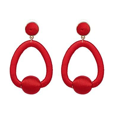 voordelige Dames Sieraden-Dames Ring oorbellen crossover Double Twine Dames Artistiek Eenvoudig Vakantie oorbellen Sieraden Rood / Groen / Wijn Voor Feest Ceremonie 1 paar