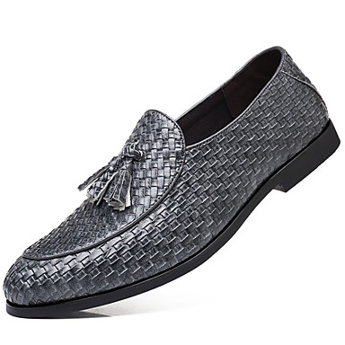 cheap Men's Slip-ons & Loafers-Men's Dress Shoes Spring / Fall British Party & Evening Office & Career Loafers & Slip-Ons Faux Leather Wine / Black / Gray / Tassel / Tassel