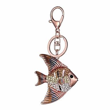 preiswerte Schlüsselanhänger-Schlüsselanhänger Fische Diamant / Strass verziertes Gehäuse Modisch Diamantimitate Moderinge Schmuck Rotgold Für Geschenk Alltag