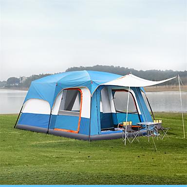 preiswerte Zelte & Unterkünfte-TANXIANZHE® 10 Personen Kabinenzelt Familien-Campingzelt Außen Windundurchlässig UV-beständig Regendicht Doppellagig Stange Camping Zelt 2000-3000 mm für Angeln Strand Camping / Wandern / Erkundungen