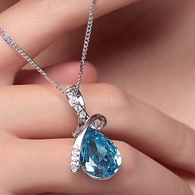 cheap Necklaces-Women's Crystal Pendant Necklace Pear Cut Solitaire Drop Aquarius Teardrop Ladies Elegant Fashion Blinging Silver Plated White Gold Alloy Purple Red Blue Orange Champagne Necklace Jewelry For Wedding