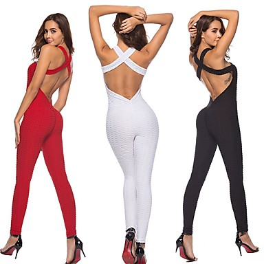 a4193a55f16 Women s Open Back Romper Workout Jumpsuit Black Red Pink Sports Solid Color  Spandex High Rise Bodysuit Zumba Yoga Running Sleeveless Activewear ...
