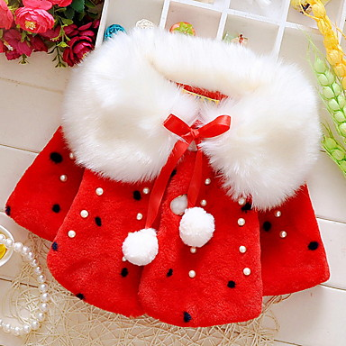 cheap Baby & Kids-Kids Girls' Street chic Christmas Solid Colored Christmas Long Sleeve Regular Cotton Jacket & Coat White
