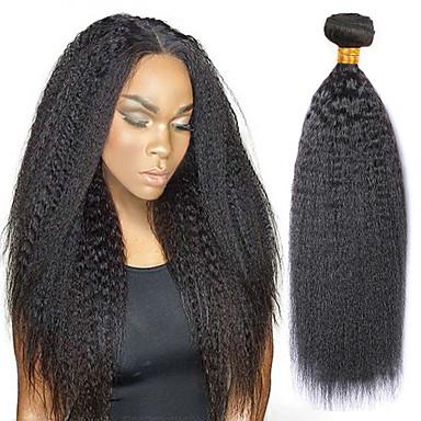povoljno Ekstenzije za kosu-3 paketi s zatvaranjem Indijska kosa Yaki Straight Ljudska kosa Ljudske kose plete Produžetak Bundle kose 8-28 inch Prirodna boja Isprepliće ljudske kose proširenje Najbolja kvaliteta Novi Dolazak