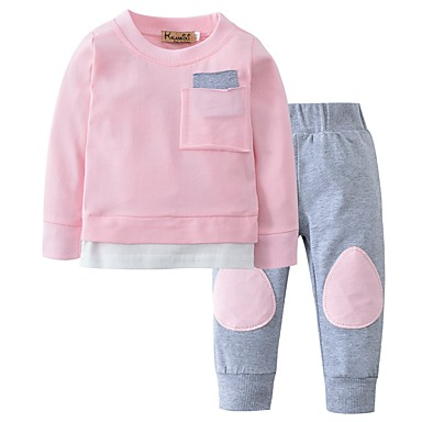 cheap Baby Girls' Clothing Sets-Baby Girls' Casual Daily Solid Colored Patchwork Long Sleeve Regular Cotton Clothing Set Light Blue / Toddler