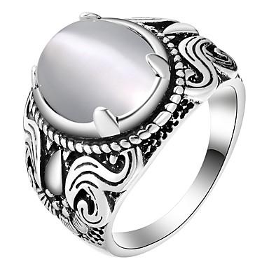 levne Pánské šperky-Pánské Band Ring Opál 1ks Stříbrná Měď Oválný stylové Klasické Denní Šperky Retro styl
